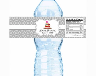 """30  Cupcake Birthday Water Bottle Labels - Select the quantity you need below in the """"Pricing & Quantity"""" option tab"""