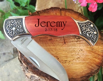 Personalized Pocket Knife Hunting Knife Engraved Rosewood Knife Groomsmen Gift Engraved Knifes Christmas Gift Engraved Hunting Knife