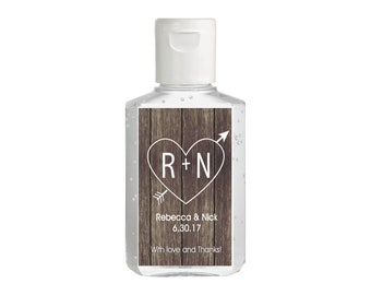 Carved Heart With Love and Thanks Hand Sanitizer Labels | Rectangular Labels for Purell Sanitizer Bottles