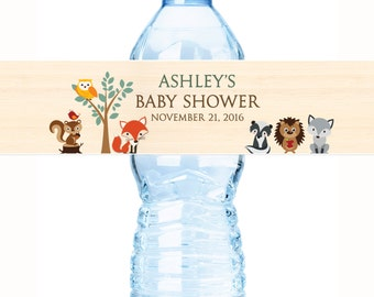 30 Woodlands Baby Shower Water Bottle Labels - Woodlands Baby Animals Water Bottle Labels - Baby Shower Labels - Shower Bottle Labels