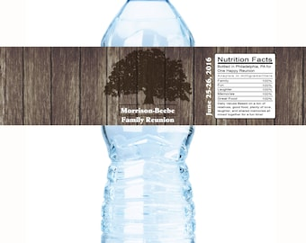 Family Reunion Water Bottle Labels - Family Reunion Decor - Family Reunion Favors - Reunion Decor - Family Tree - Bottle Wraps