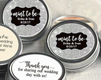 150 Engagement Party Decor -Personalized Wedding Mint Tins - Silver Wedding Favors - Wedding Decor - Engagement Party Favors - Mint To Be