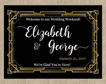 "4"" x 3""  Personalized Welcome Box Labels -  30 Wedding Welcome Bag Labels - Wedding Favor Labels - Welcome Stickers - Box Stickers -Art Deco"
