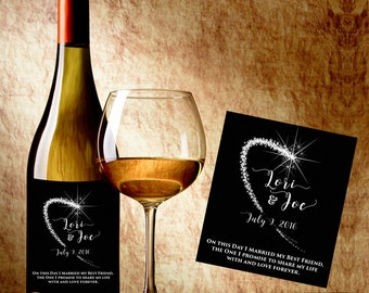 Wedding Wine Labels - Personalized Wine Label - Wedding Wine Bottle Labels - Wedding Wine labels - Shooting Star Wine Labels - Burlap Labels