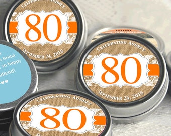 Burlap and Lace Birthday Mint Tin Favors, 80th Birthday Favors, Orange Birthday Favors, Candy Birthday Favors, 80th Birthday Decor