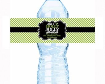"""Personalized Holly Jolly Christmas Water Bottle Labels - Select the quantity you need below in the """"Pricing & Quantity"""" option tab"""