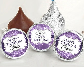 Birthday Hershey Kiss® Stickers - Birthday Hershey Kiss Stickers- Purple Birthday Kiss Labels - Hershey Kiss Seals - Candy Stickers