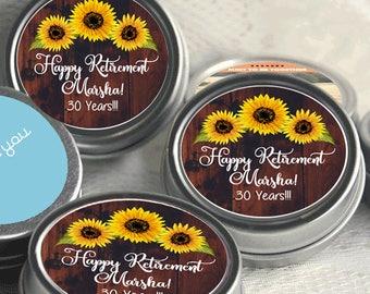 12 Retirement Mint Tins - RetireMints - Sunflower - Retirement Favors - Retirement Decor - Retirement Mints - Retired Mints