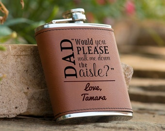 Personalized 6 oz. Leatherette Stainless Steel Flask - From Daughter to Dad, Father of the Bride, Personalized Gifts, Gift for Dad