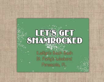 "4"" x 3""  Welcome Box Labels -  18 Bachelorette Welcome Bag Labels - Welcome Stickers - Box Stickers - Lets Get Shamrocked"