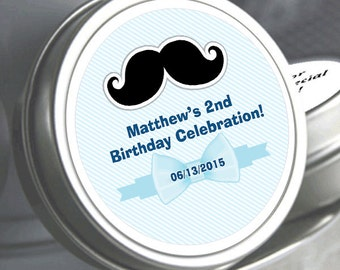 "12 Mustache and Bow Birthday Mint Tins - Need a different quantity? Click on the ""choose total"" tab to see all pricing"