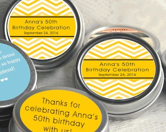12 Yellow Chevron Birthday Mint Tins  - Baby Shower Mint Tins - Custom Party Decor - Chevron Favors -Mint Tin Party Favors