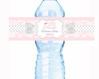 """Little Peanut Baby Shower Water Bottle Labels - Select the quantity you need below in the """"Pricing & Quantity"""" option tab"""