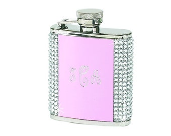 Crystal Bejeweled Bling Flask with Pink Panel - Gifts for Her, Bridesmaids Gift, Glitter Flask, Christmas Gift, Stocking Stuffer