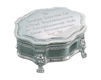 Personalized Large Victorian Keepsake Princess Jewelry Box - Engraved Jewelry Box - Silver Jewelry Box - Personalized Jewelry Box