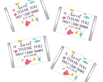 A Sweet Thank You Personalized Miniature Chocolate Wrappers | Baby Shower Miniature Candy Bar Wrappers | Baby Shower Decor  | Mini Wrappers