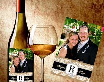 Personalized Wedding Country Wine Labels With Photo - Custom Color Wine Labels - Photo Wine Labels