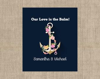 Personalized Lip Balm Labels - Anchor Lip Balm Labels - 1 Sheet of 12 Lip Balm Labels - Nautical  Lip Balm Labels - Anchor