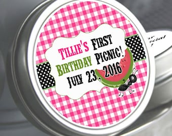 Birthday Mint Tins - Birthday Candy Tins - 1st Birthday - Ants and Watermelon - Picnic - Kids BBQ Party Mint Tins - Picnic Party - Set of 12