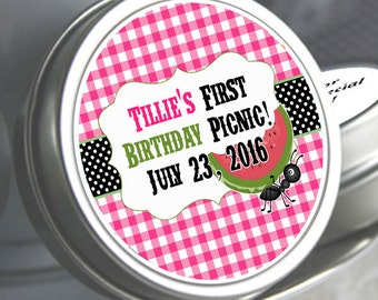 12 Birthday Mint Tins - Birthday Candy Tins - 1st Birthday - Ants and Watermelon - Picnic - Kids BBQ Party Mint Tins - Picnic Party