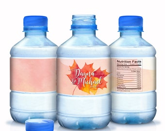 20 Fall Leaves Wedding Water Bottle Labels - Autumn Wedding Labels - Fall Wedding Labels - Fall Wedding Decor - Autumn Wedding Stickers