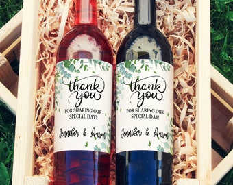 Thank You Wine Labels | Thank You Wedding Favor Gift  |  Wedding Wine Label  | Waterproof Wine Labels  |  Printed Wine Labels | Eucalyptus