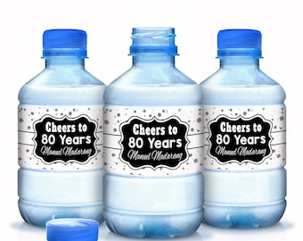 30 Cheers to 80 Years Water Bottle Labels - Silver, Black and White Dots Water Bottle Labels - Birthday Milestone Water Bottle Labels