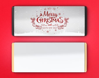 12 Large Personalized Christmas Hershey's Chocolate Wrappers -  Candy Bar Wrappers - Large Candy Wrappers - Merry Christmas Happy New Year