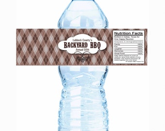 "20 Backyard BBQ Family Reunion Water Bottle Labels- Select the quantity you need below in the ""Pricing & Quantity"" option tab"