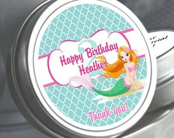 12 Cute Mermaid Birthday Mint Tin Favors - mermaid themed favors - mermaid birthday - mermaid decor