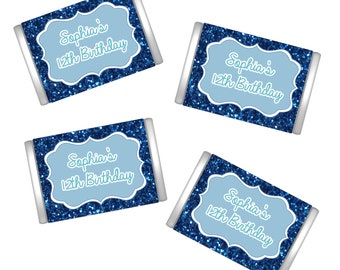 Personalized Birthday Miniature Chocolate Wrappers | Miniature Candy Bar Wrappers | Birthday Favors  | Mini Wrappers
