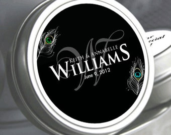 "12 Personalized  Last Name with Monogram Peacock Mint Tins  - Select the quantity you need below in the ""Pricing & Quantity"" option tab"