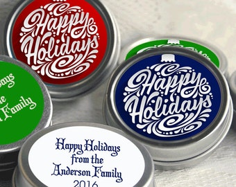 Christmas Ideas - Christmas Party Themes - Happy Holidays - Mint Tins - Christmas Office Party Ideas - 12 Christmas Party Favors
