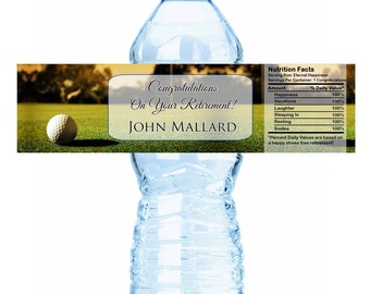 """Golf Course Themed Retirement Water Bottle Labels - Select the quantity you need below in the """"Pricing & Quantity"""" option tab"""