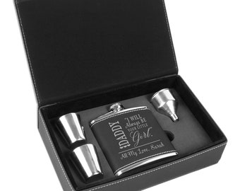 Personalized 6 oz Black Leather Flask Gift Set, Drinking Gift Set, Father of the Bride Flask, Uncle of the Bride Flask, Flask Gift Set