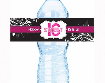 "Flourish Design Sweet 16 Birthday Water Bottle Labels - Select the quantity you need below in the ""Pricing & Quantity"" option tab"
