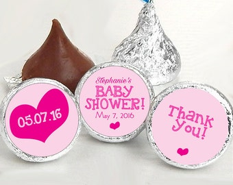 Baby Shower Favors - Girls Party Favors - Pink Hearts Baby Shower Favors - Hershey® Kiss Stickers - Kiss Seals - 108 Stickers