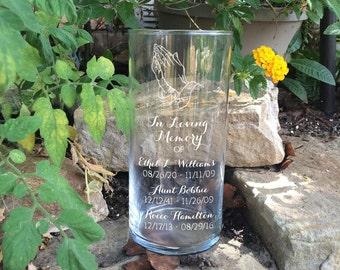 Memorial Vases - In Loving Memory Vase -Floating Wedding Memorial Candle - Memorial Candle - Engraved Memorial Cylinder - Praying Hands