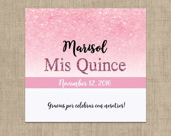 Pink Glitter Mis Quince Candy Bar Wrappers for Hershey's Chocolates - Sweet 16 Candy Bar Label - Mis Quince Candy Bar Wrappers