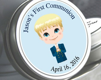 First Holy Communion, Candy Tins, Boys Holy Communion Mint Tins, Communion Favors, Party Favors, Candy Favors, Blue Communion Favors