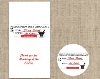 Personalized Prescription Hershey's Miniatures Chocolate Wrappers and/or Kiss Labels