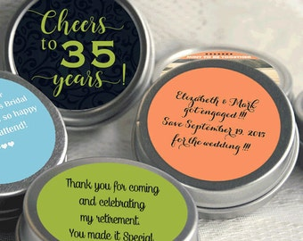 Cheers to 35 Years Retirement Mint Tins - RetireMints - Retirement Favors - Retirement Decor - Retirement Mints - Retired Mints