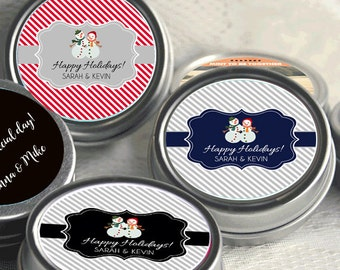 2 Personalized Mr and Mrs Snowman Winter Mint Tins Favors - Wedding Favors - Happy Holidays - Christmas Decor - Christmas Favors