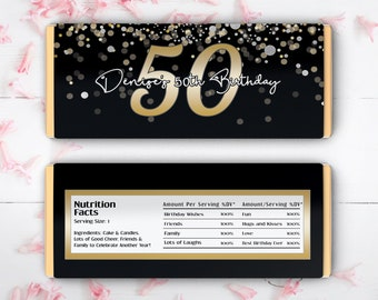 12 Large 50th Birthday Personalized Hershey Candy Bar Wrappers - Black, Silver, Gold and White