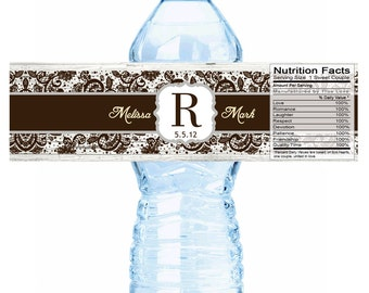 Wedding Water Bottle Labels - Rustic Wedding - Country wedding - Monogram Wedding - Bottled Water Labels - Wedding Stickers - Wedding Decor