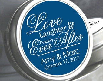 35 Love Laughter and Happily Ever After Wedding Mint Tins - Empty Tins - Personalized Wedding Favors - Wedding Decor - Party Favors