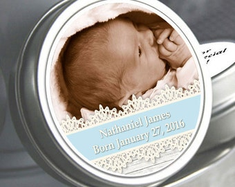 """12 - Blue Lace Photo Baby Shower Mint Tins - Need a different quantity? Click on the """"choose total"""" tab to see all pricing"""
