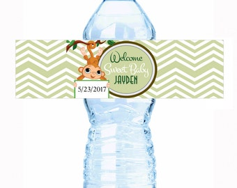 """20 Born to Monkey Around Baby Shower Water Bottle Labels - Select the quantity you need below in the """"Pricing & Quantity"""" option tab"""