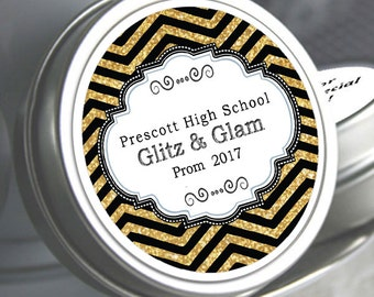"""12 Personalized Glitz and Glam Theme Mint Tin Prom Favors - Select the quantity you need below in the """"Pricing & Quantity"""" option tab"""