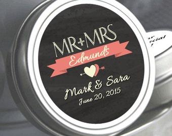 Mr and Mrs Wedding Favors - Mr and Mrs Wedding Decor - Mr & Mrs Mint Favors - Wedding Mints - Breathe Mints - Mr and Mrs Mint Tins